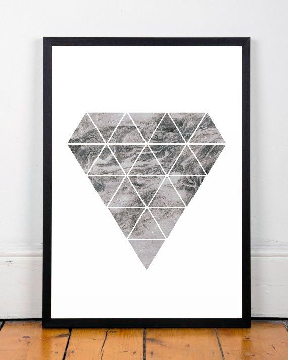 Diamond print, Diamond wall art, Pattern poster, Marble art print, Wall print, Home decor, Monochrome art, Modern poster, A3 print, Poster  ===