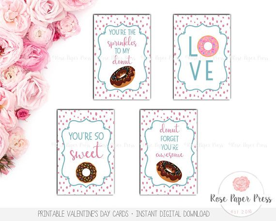 Donut Valentine's Day Cards | Printable Valentines Day Cards | Kids Valentines Cards, School Valentines, Classroom Valentines, Donut Card  These Donut Valentines Day Cards are an original design of Rose Paper Press, available as an instant digital download. Print as many as you need,