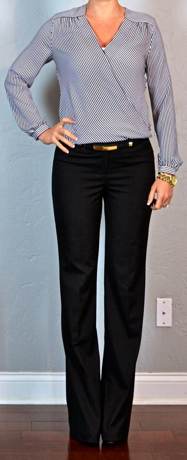 I have a pair of 'editor' pants! :) From outfit post: stripe crossover blouse, black 'editor' pants