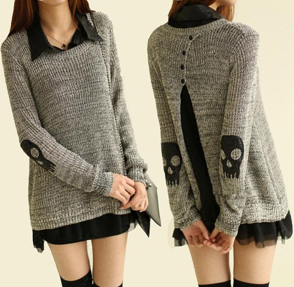 "monsterthigh: "" Skull Accent Sweater + Sheer Blouse Set """