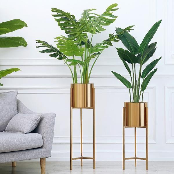Floor Vase Gold Metal Shelf Vase For Dried Flowers Pots Planters