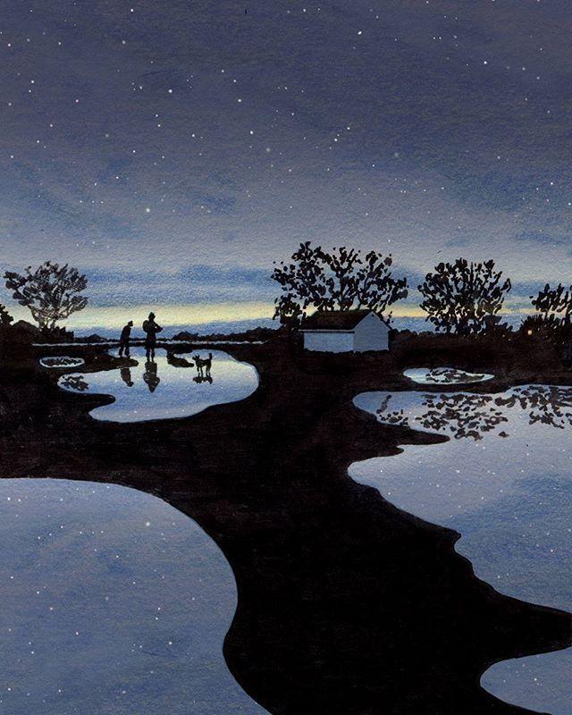 #2016그림달력 중 12월은 웅덩이에 비친 별이 보이는 새벽 그림으로 채워집니다.