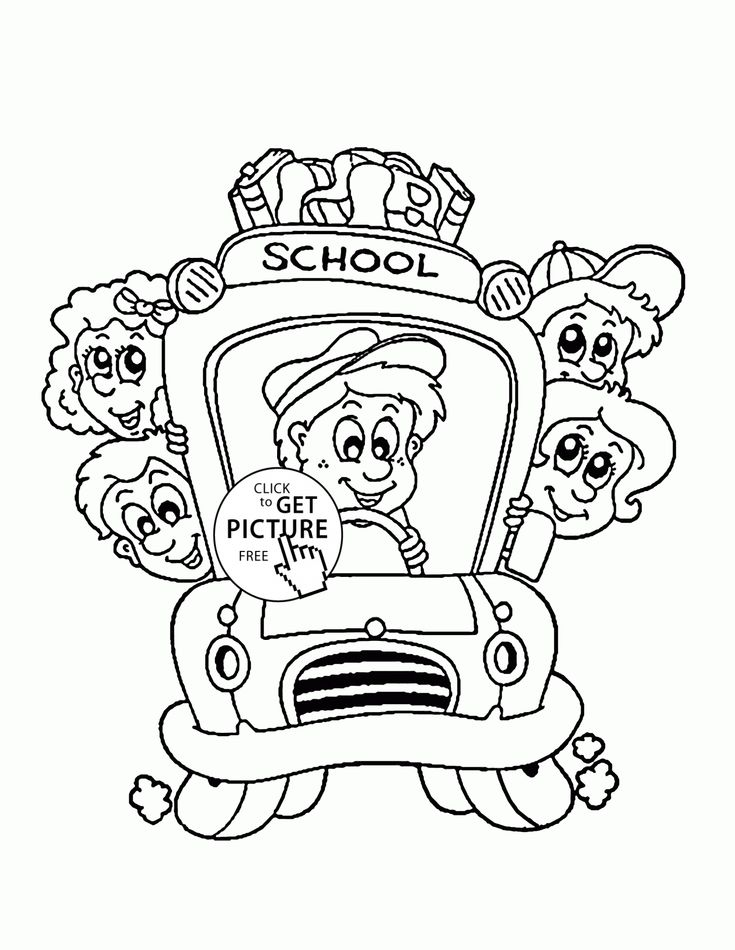 School Bus with Kids coloring page for kids, back to