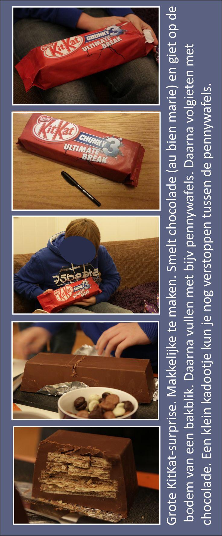 Sinterklaas surprise. Een hele grote KitKat gemaakt van echt chocolade.