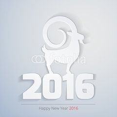 Goat on top of year 2016. Conceptual image shows successful end of year 2015 and beginning of new year 2016