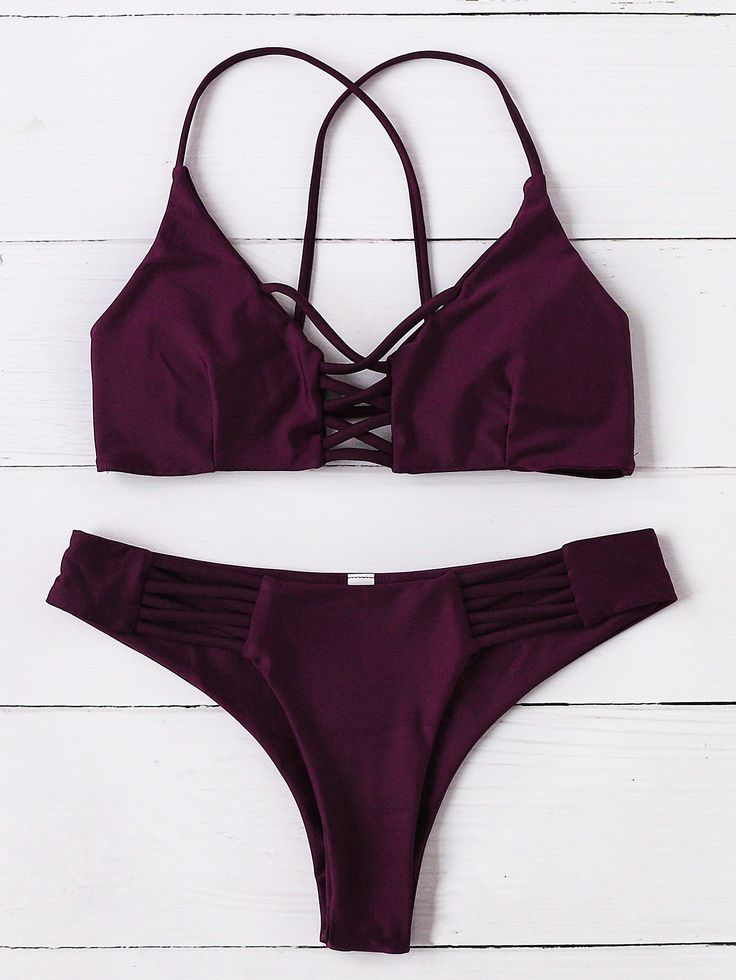 Burgundy Criss Cross Design Bikini Set Mobile Site