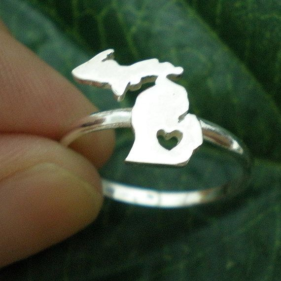 Michigan Upper & Lower Peninsula State Ring with Cut by yhtanaff, $40.00 #Etsy #michigan #ring