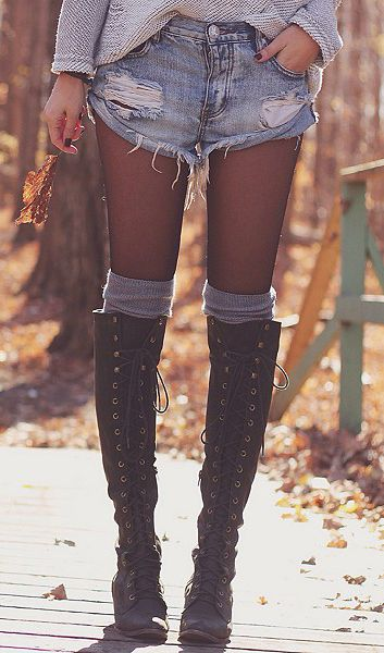Tall lace up vintage boots with tights and thigh or over the knee socks. Crap I love this style!!