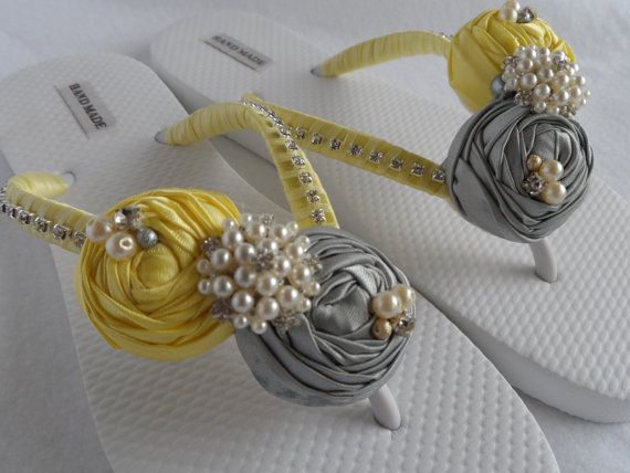 @Lizzie Rucker , thought of you for these. Though I feel like they'd be pretty simple to make...Yellow & Gray Bridal Flip Flops / Wedding colors Flip Flops / Beach Flip Flops / Bridesmaid flip flops on Etsy, $38.99