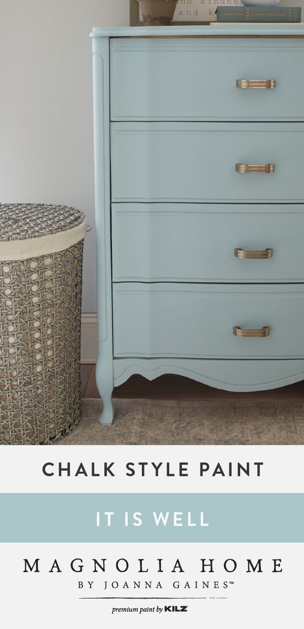 Add a splash of color to the interior design of your home with the help of this Chalk Style Paint, in It Is Well, from the Magnolia Home by Joanna Gaines™ Paint collection. This light blue hue adds a timeless style to this painted dresser. Try using a neutral color palette as a complement to this pastel shade.