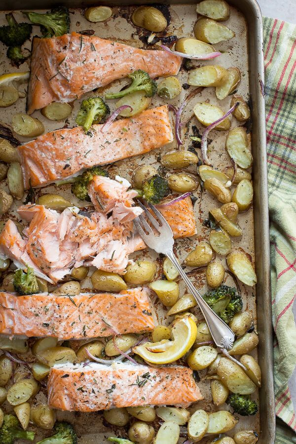 An easy one pan baked salmon dish for the family