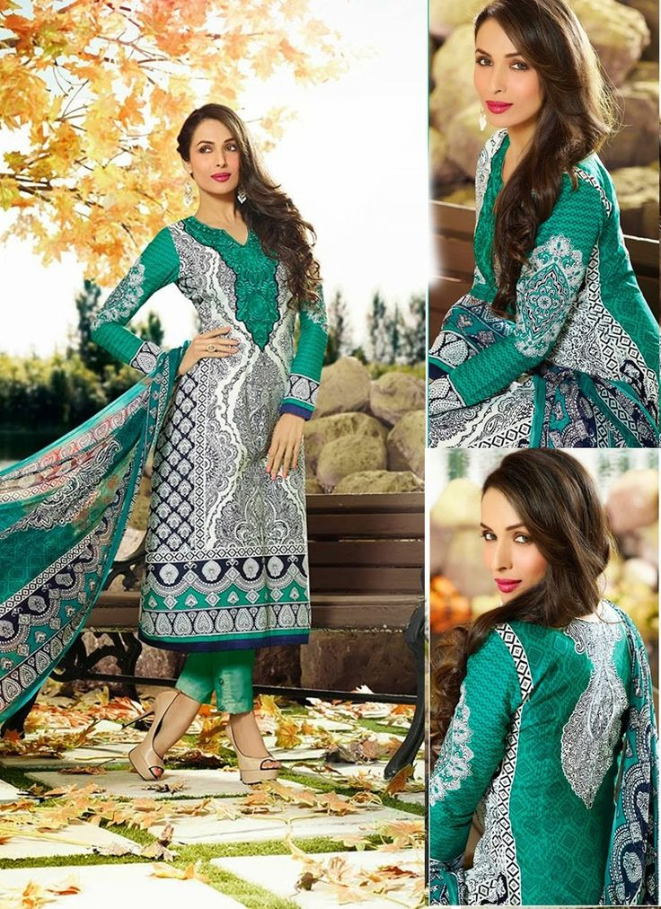 White & Green Cotton Palazzo Suit For Women