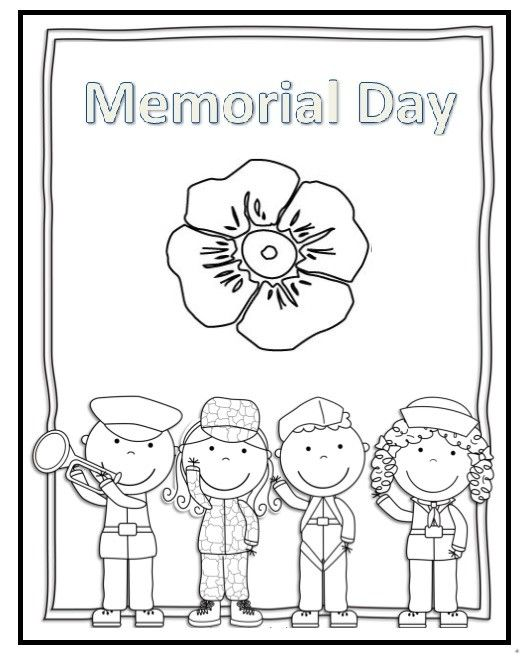 Memorial Day Coloring Pages For Kids Preschool And Kindergarten