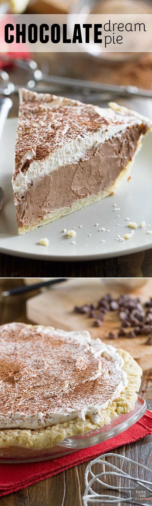 Rich, creamy and silky, this Chocolate Dream Pie is a chocolate lovers dream! A creamy chocolate filling is topped with whipped cream in this easy, crowd pleasing pie.