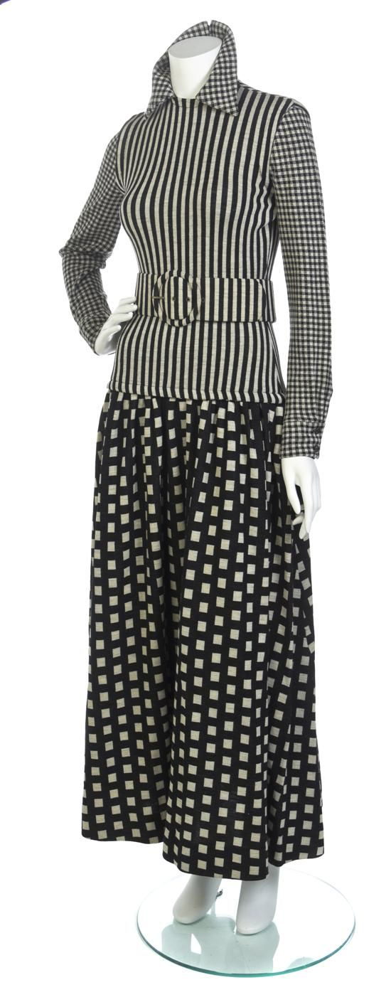 * Rudi Gernreich Black, White and Gray Wool Knit Trompe loeil Dress Fall 1971