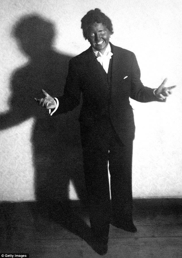 Hitler's mistress Eva Braun in blackface as the Jewish singer Al Jolson (1937)