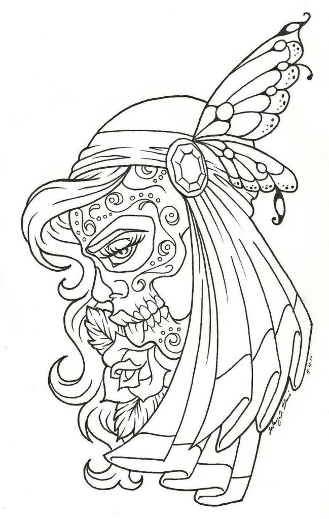 day of the dead coloring pages woman - Sugar Skull Tattoo Coloring Pages