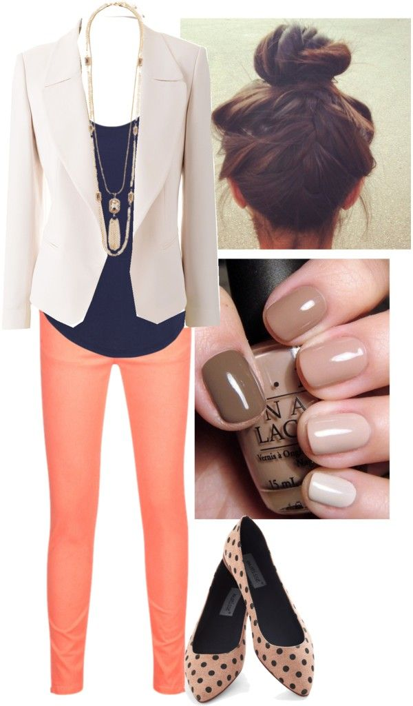 Navy and Coral - beautiful combination. Now if I could just get my hair long enough to do that bun!