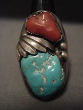 ONE OF THE HEAVIEST VINTAGE ZUNI/ NAVAJO TURQUOISE SILVER RING- 45 GRAMS!!!!!