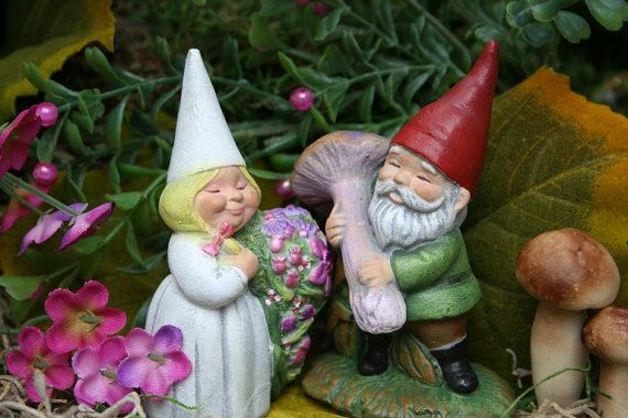 Garden Gnomes  Wedding Cake Topper  Miniature by PhenomeGNOME,