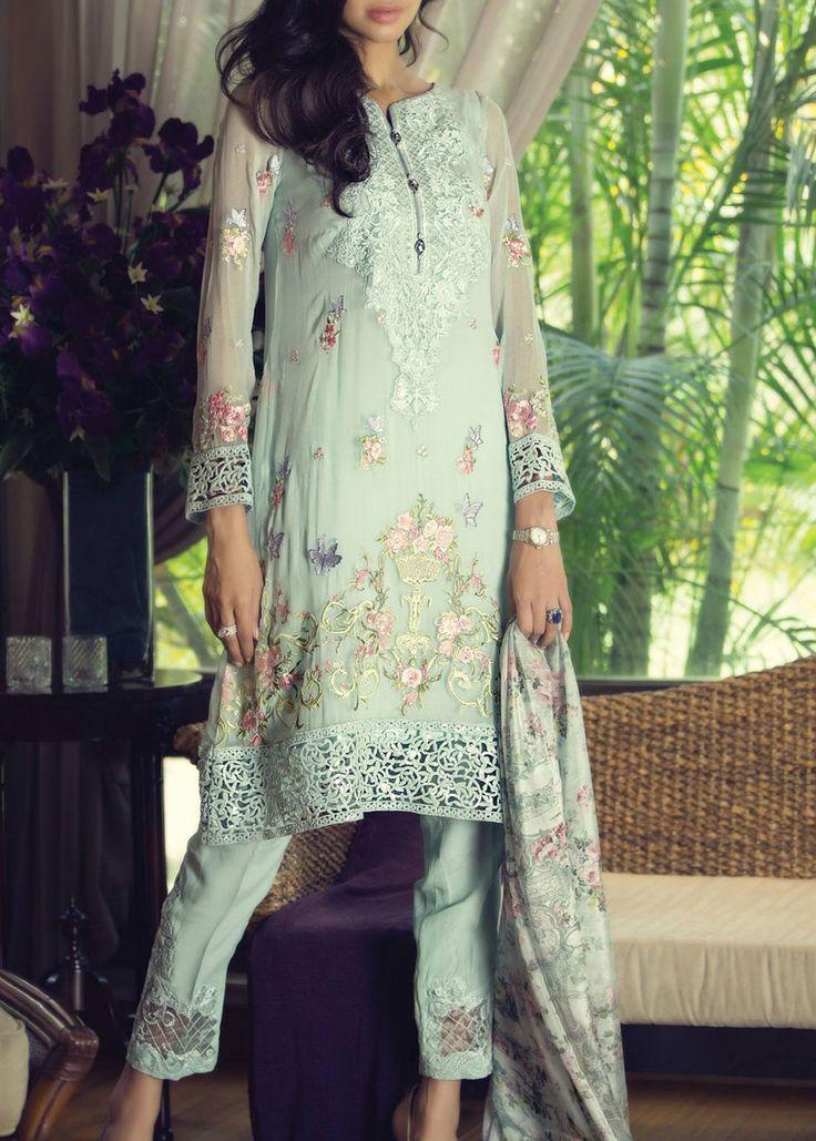 Buy Light Sea green Embroidered Chiffon Dress by Maria B. 2015.