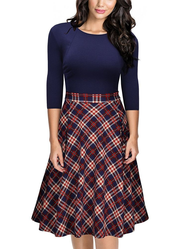 Missmay Women's Vintage Retro Plaid Patchwork A-line Cocktail Party Dress at Amazon Women's Clothing store: