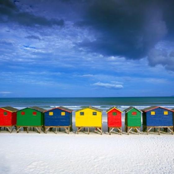 Muizenberg Beach huts in Cape Town, SA!