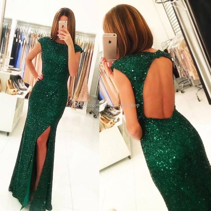 Split Dark Green Mermaid Evening Dresses 2018 Sequins Floor Length Hollow Back Long Sheath Formal Prom Pageant Gowns Customized Cheap Lace Evening Gowns Ladies Formal Wear From Cinderella_shop, $82.87  Dhgate.Com