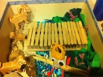 Sensory Box for Three Billy Goats Gruff.  Can be used during Fairy Tale Unit
