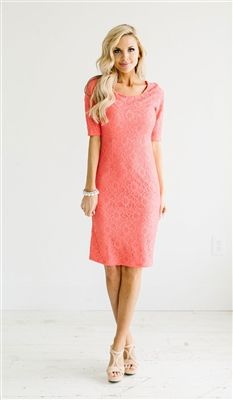 Coral Lace Modest Dress by Mikarose, Vintage Dress, Church Dresses, dresses for…