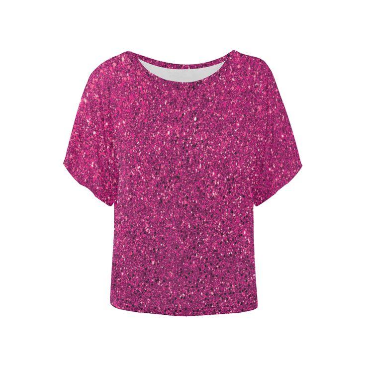 Hot Pink Glitter Women's Batwing-Sleeved Blouse T shirt (Model T44) | ID: D2066686