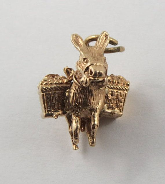 Donkey With Luggage 9K Gold Vintage Charm For by SilverHillz