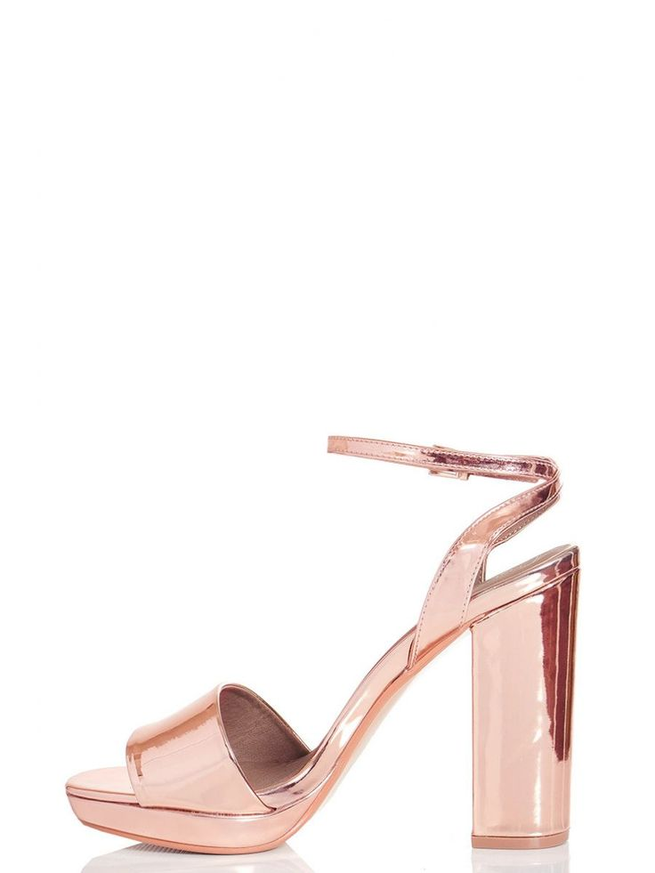 Rose Gold Metallic Strap Heel Sandals