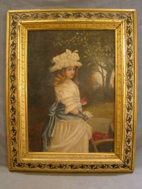 Antique Victorian Era Lady In Bonnet W Apples Folk Art