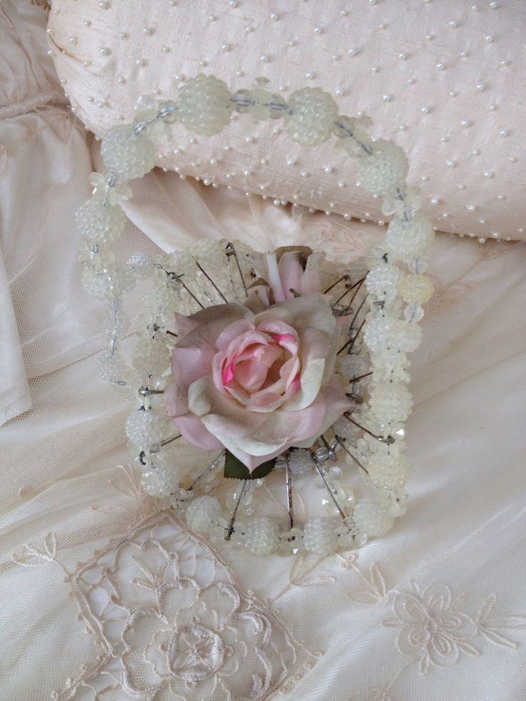 Vintage Beaded Safety Pin Basket   White Clear Beads   Wedding Decor    Flower Girl Basket