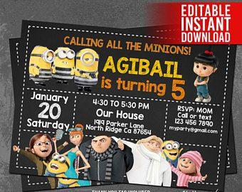 Minions Invitations, Minions Birthday Invitation, Minion Party, Minion Invited, Minion Thank You Tag Free, Editable PDF, Instant Download