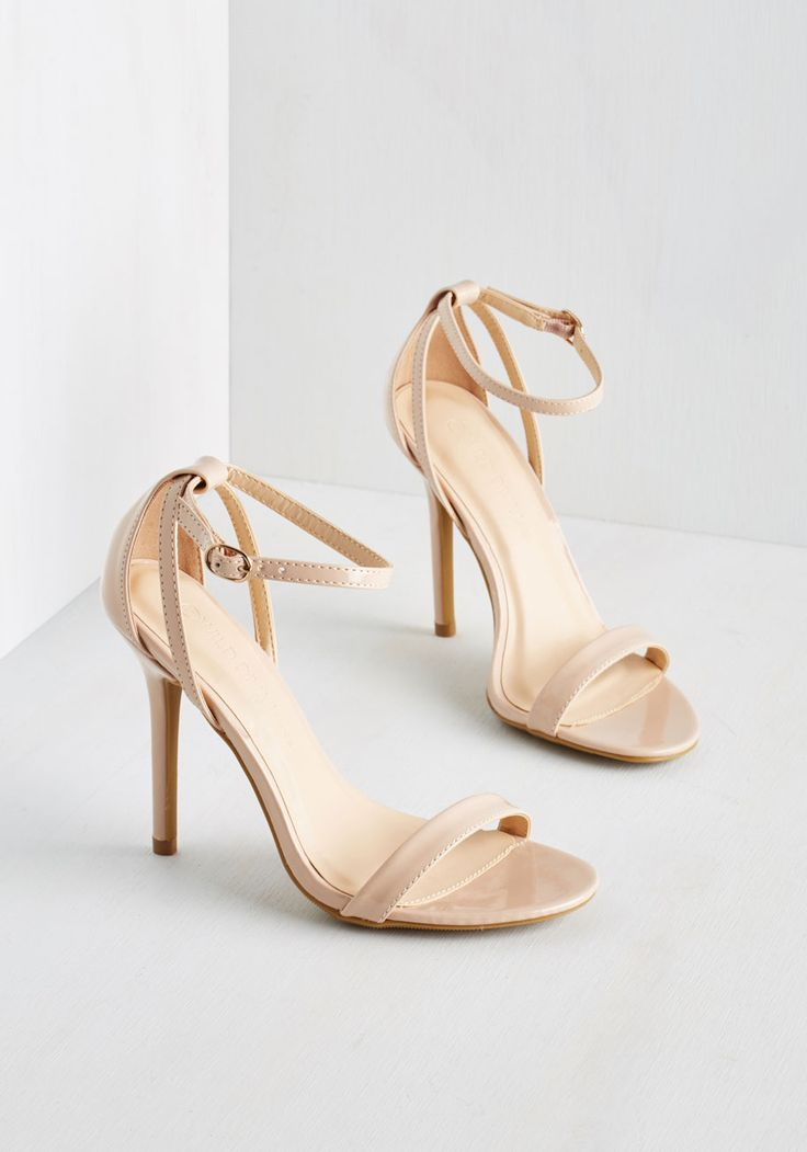 Think Posh-itive Heel in Champagne - Tan, Solid, Special Occasion, Prom, Wedding, Bridesmaid, Homecoming, Good, Strappy, High, Faux Leather