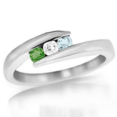 Zales: Personalized Birthstone Bypass Mother's Ring; $299