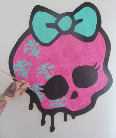 Handpainted HUGE Monster High Girly Skull Bow Logo Graffiti Drip Style Hand…