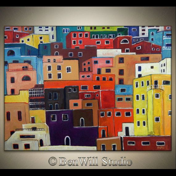 LARGE Oil Painting Wall Art COLORFUL Original MODERN Abstract Art on Canvas - Huge Bright Colored 54x40 by BenWill. $1,050.00, via Etsy.