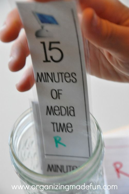 """""""15 media minutes"""" sticks {well, laminated cardstock} they get 8 of them each morning.  I have their first initial on them and they can decide how they want to use it - use up all their time at once, or a little at time. I also give """"bonus"""" media minutes for various things and for reading. (LD note:  could be a checklist reward - so many gold stars = media (or other reward) time."""