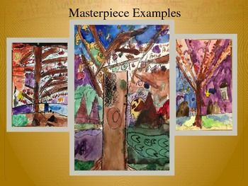 Elementary Art Lesson 2nd Van Gogh Impressionism Blossoms Pastel Watercolors