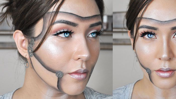SparkLife » Halloween Makeup Tutorial: How to Become Android Allison. Next Halloween! Puffy paint for the gears