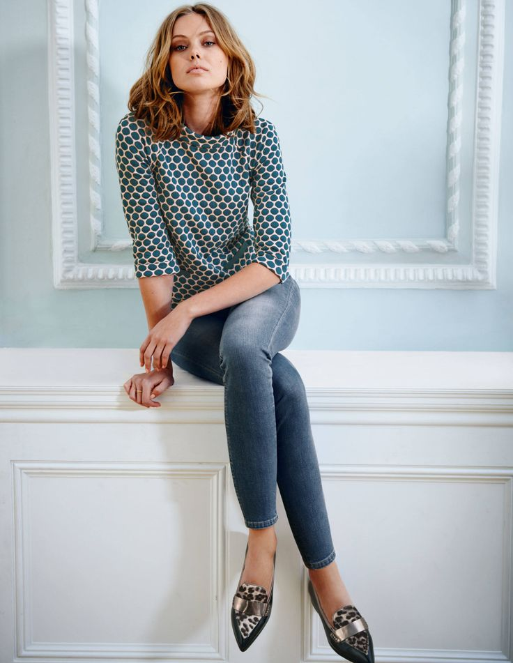 """Boden Jersey Jacquard Top. """"We've updated our bestselling jacquard in some new colour options. It's stylish, stretchy and structured with a bit of retro relevance."""" #NewBritish"""
