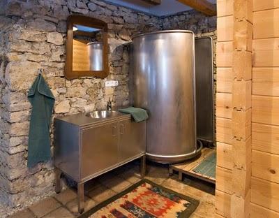 bathroom: stone and metal