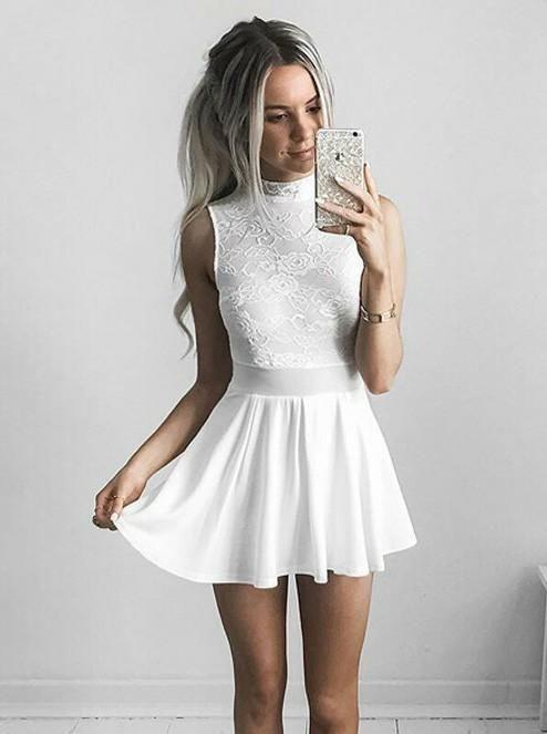 White High Neck Chiffon Short Homecoming Dresses  d11df51de