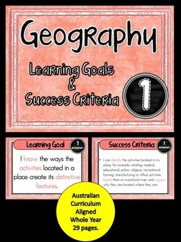 Grade+1++Geography++All+AC+Descriptors+(Whole+Year)+Learning+Goals+and+Success+Criteria+Posters.+This+packet+has+all+the+posters+you+will+need+to+display+the+learning+goals+for+the+entire+year!!!!:+Grade+1++Australian+Curriculum+Geography:+Geographical+Knowledge+and+Understandings++Geographical++inquiry+and+Skills+