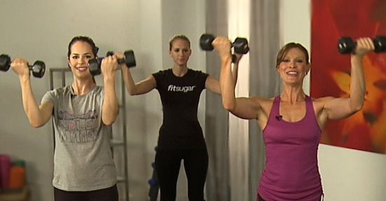 10-Minute Workout For Tank Top Arms -- I love that the host (in the grey shirt) is trying to disguise the fact that she is DYING doing these exercises :)