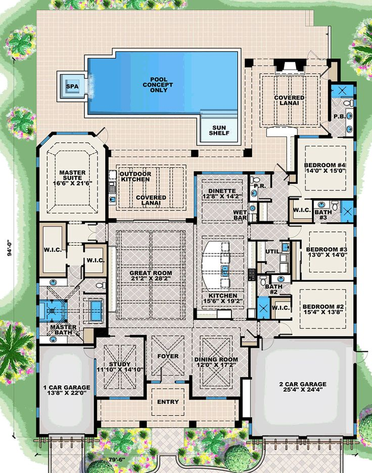 Coastal Florida House Plan 75987 Level One