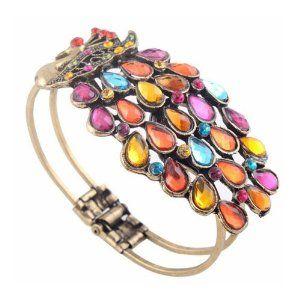 Multi Vintage Colorful Crystal Peacock Bracelet Bangle By Buyincoins3 # fashion vintage bracelet# vintage jewellery#